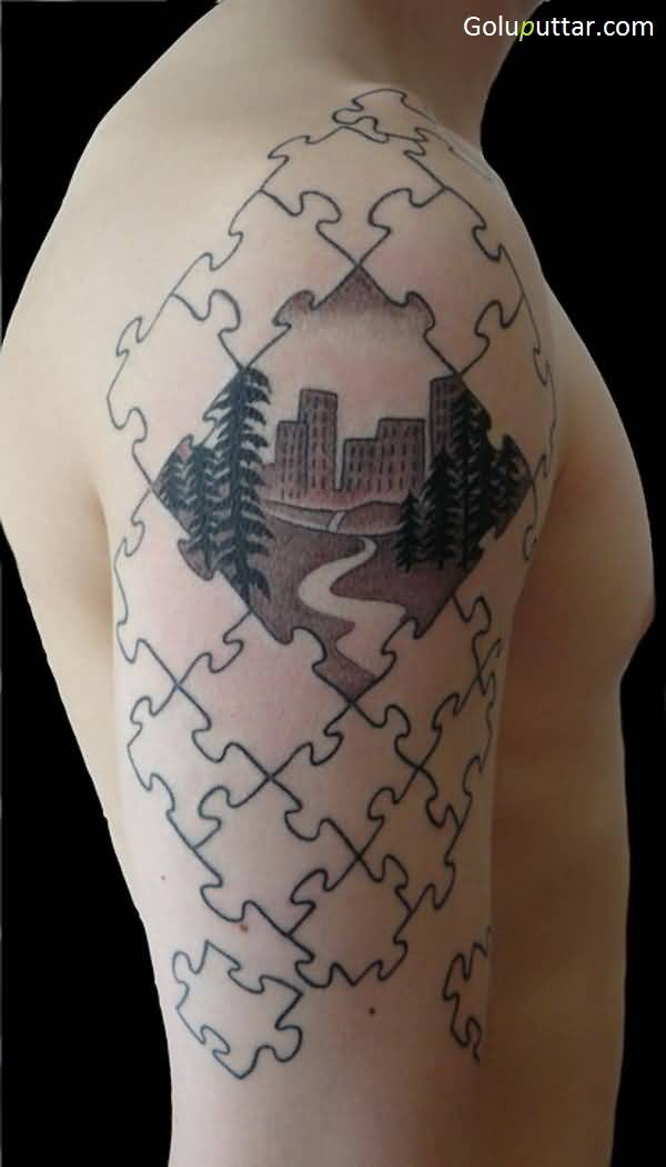 3D Puzzle Tattoos Ideas And Designs