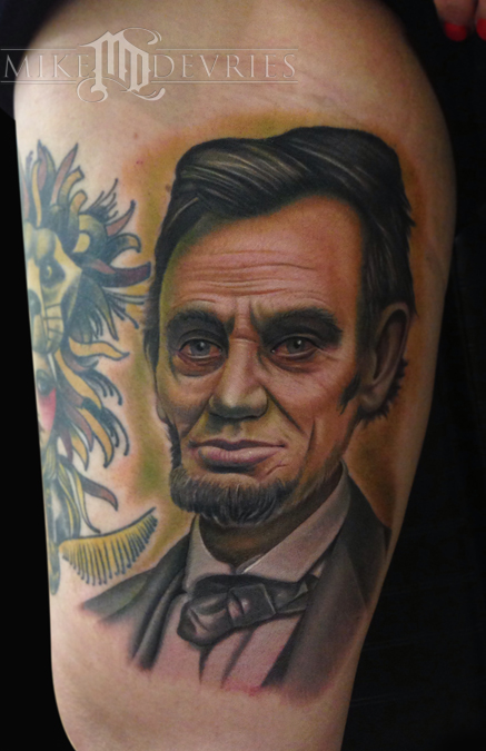 Mike Devries Tattoos Portrait Ab Lincoln Ideas And Designs