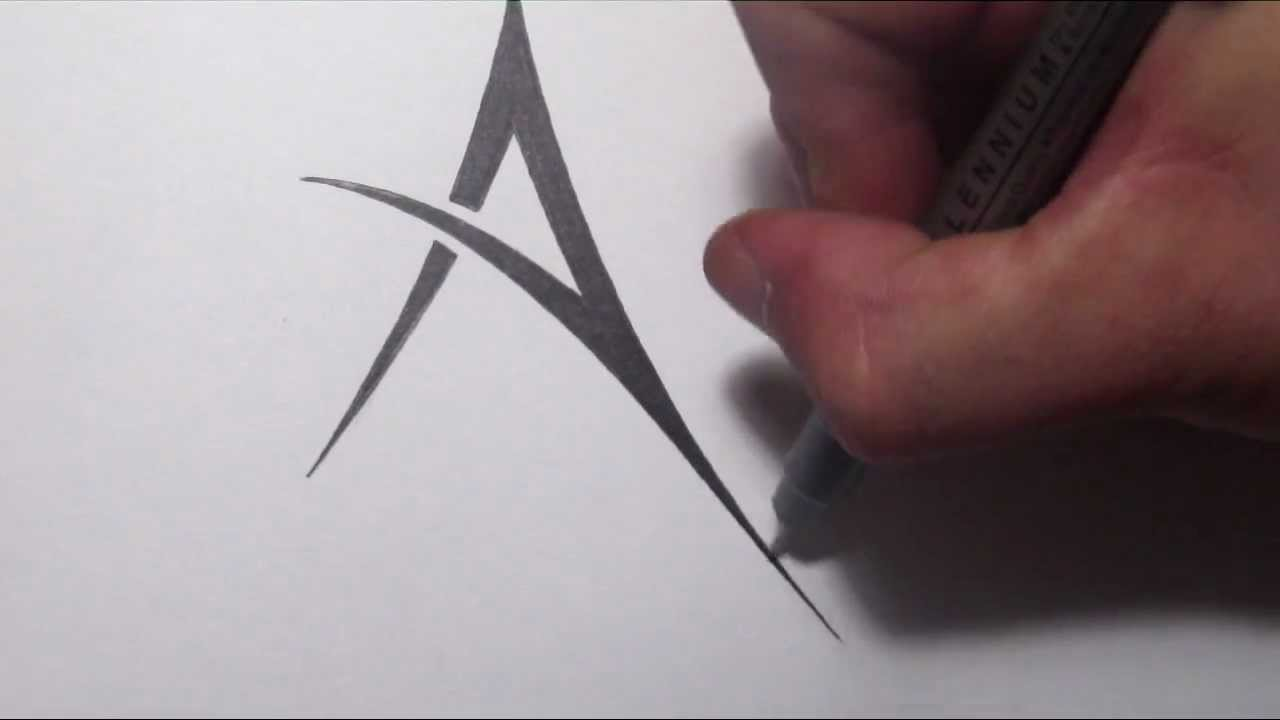 How To Draw A Simple Tribal Letter A Youtube Ideas And Designs