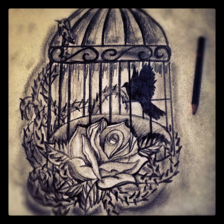 Tattoo Design Bird Cage And Rose By Jackerynorthall On Ideas And Designs