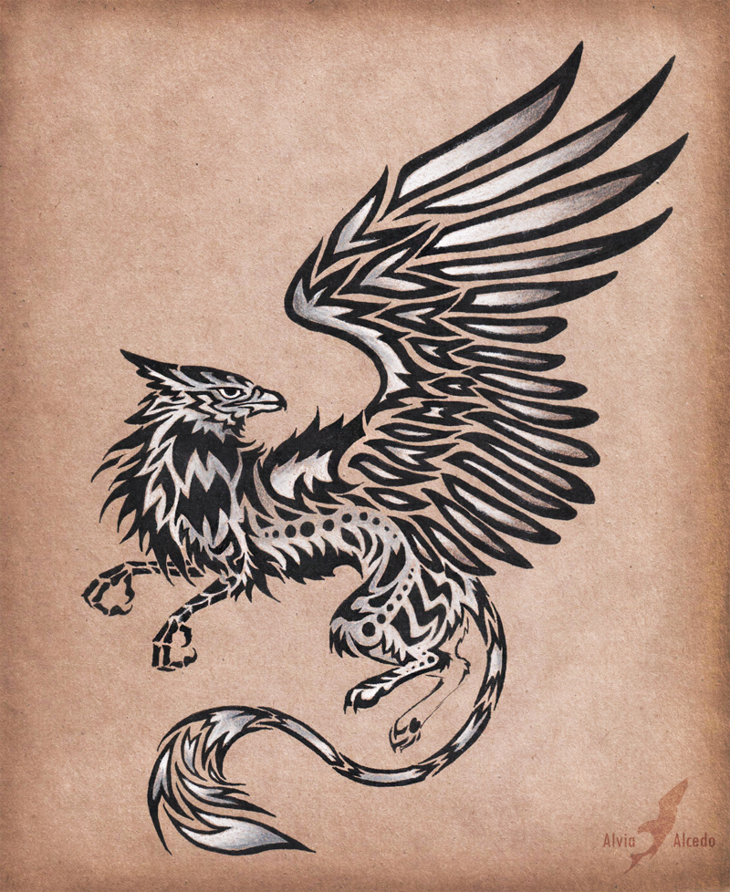Silver Gryphon Tattoo Design By Alviaalcedo On Deviantart Ideas And Designs
