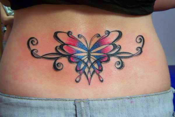 This Beautiful Lower Back Tattoo Of A Butterfly Uses A Ideas And Designs