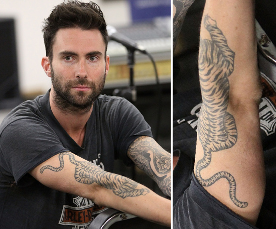 Adam Levine Has A Tattoo Sleeve On His Left Arm And A Ideas And Designs