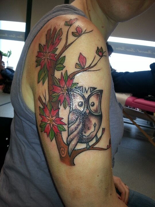 Abstract Cherry Blossom And Owl Tattoo Tattoos Pinterest Ideas And Designs