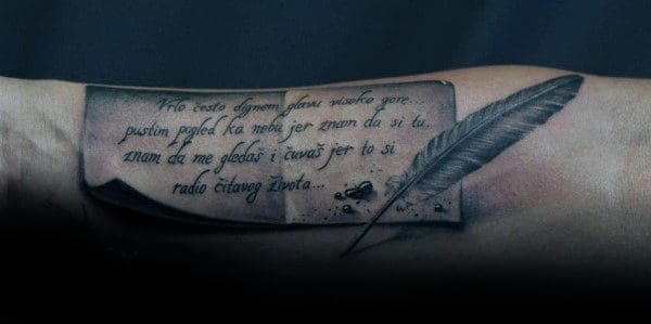 60 Scroll Tattoos For Men Manly Paper Design Ideas Ideas And Designs