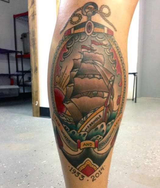 50 Traditional Leg Tattoos For Men Old School Design Ideas Ideas And Designs