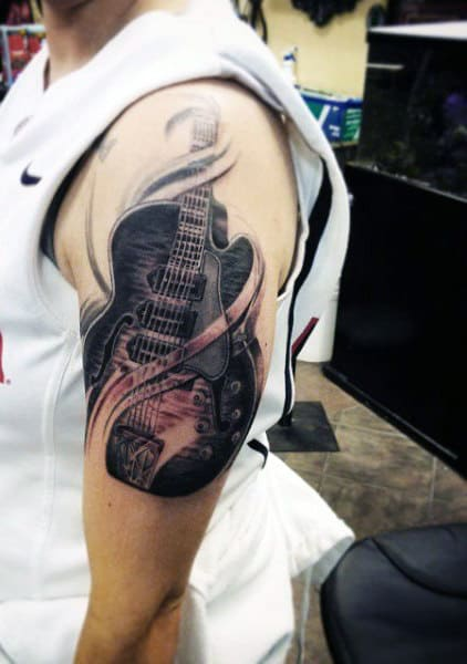 65 Guitar Tattoos For Men Acoustic And Electric Designs Ideas And Designs