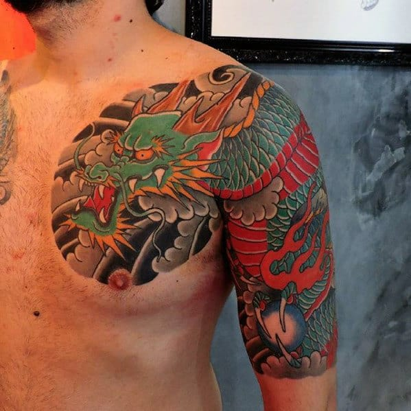 30 Dragon Half Sleeve Tattoos For Men Fire Spewing Ideas And Designs