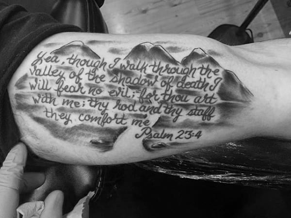 40 Psalm 23 Tattoo Designs For Men Bible Verse Ink Ideas Ideas And Designs