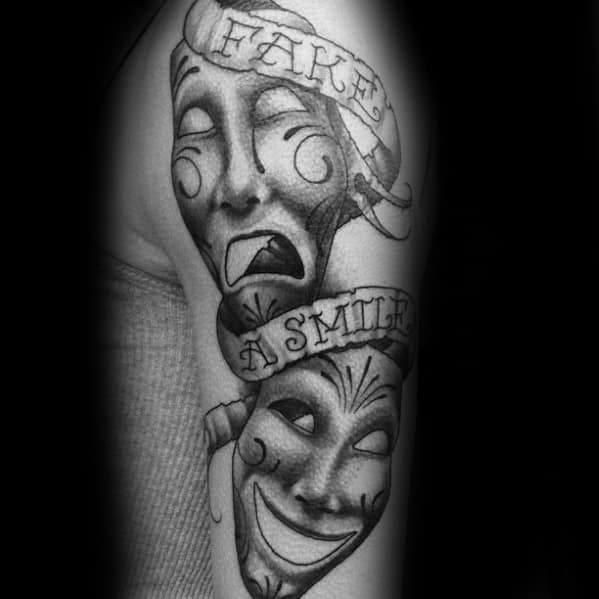 60 Drama Mask Tattoo Designs For Men Theatre Ink Ideas Ideas And Designs