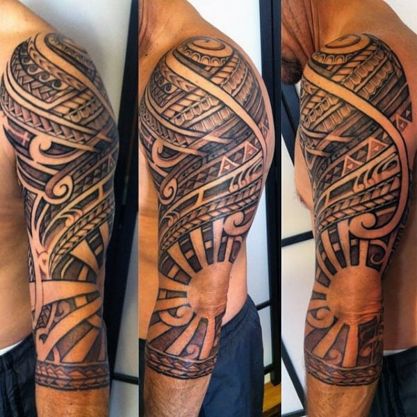50 Tribal Sun Tattoo Designs For Men Black Ink Rays Ideas And Designs