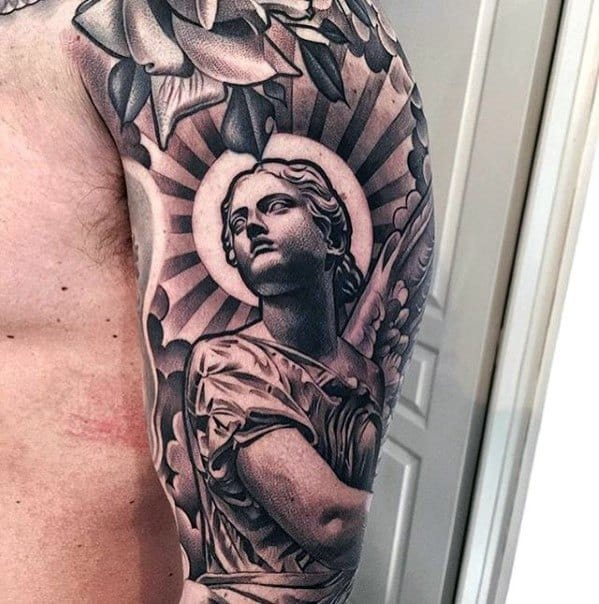 40 Angel Statue Tattoo Designs For Men Carved Stone Ink Ideas And Designs