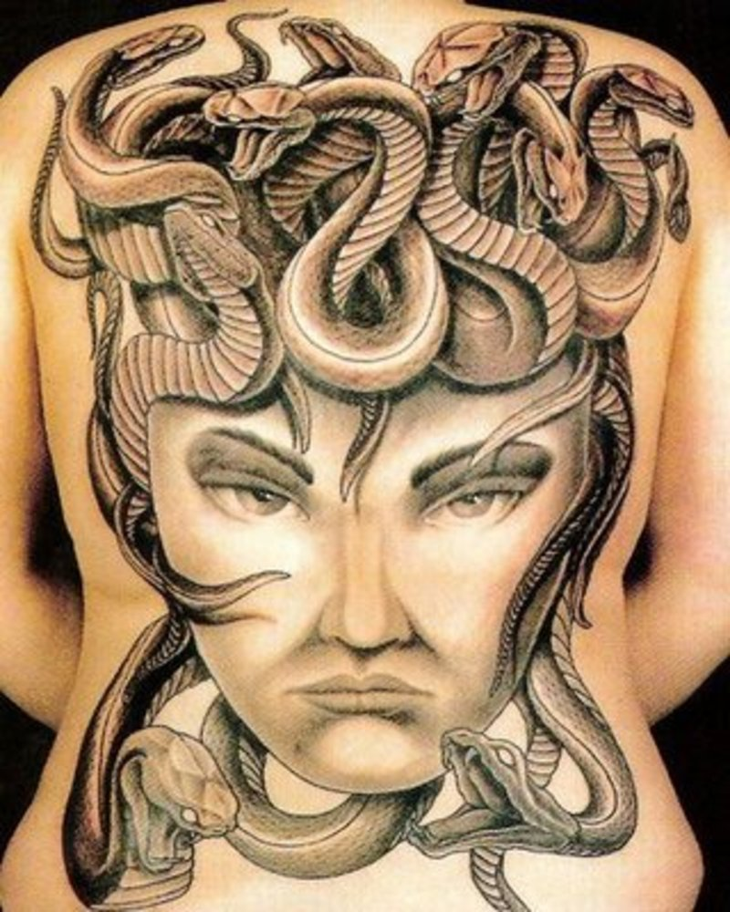 3D Snakes Tattoo On Upper Back Tattoos Photo Gallery Ideas And Designs