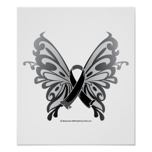 Skin Cancer Butterfly Ribbon Poster Zazzle Ideas And Designs