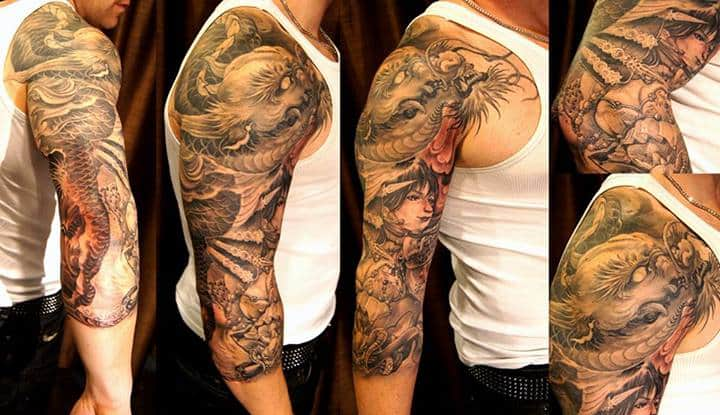 3 4 Sleeve Dragon And Girl Tattoo Chronic Ink Ideas And Designs