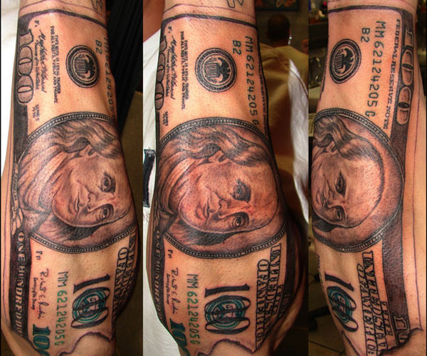 35 Arresting Money Tattoos Slodive Ideas And Designs