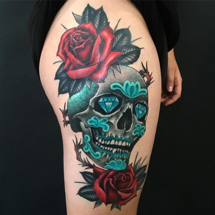30 Amazing And Inspiring Sugar Skull Tattoos Designwrld Ideas And Designs