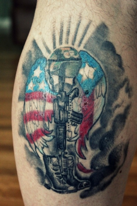Black American Style Soldier Tattoo On Arm Ideas And Designs