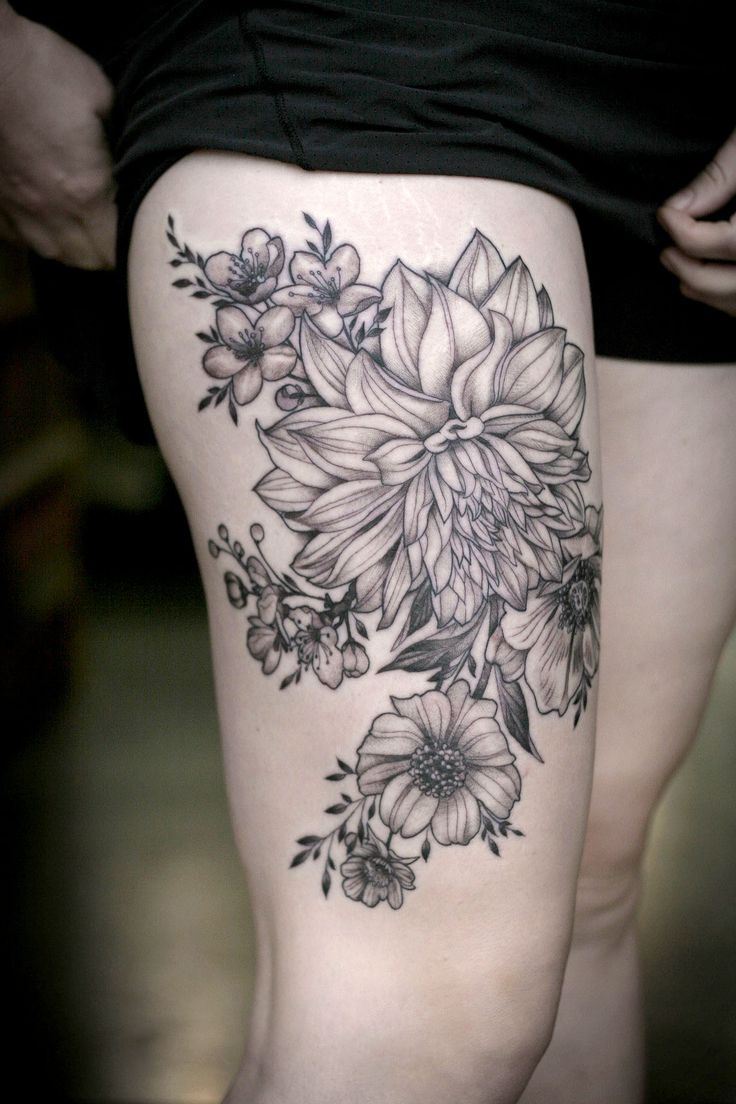 Dahlia And Flowers Tattoo By Alice Kendall Jpg Ideas And Designs