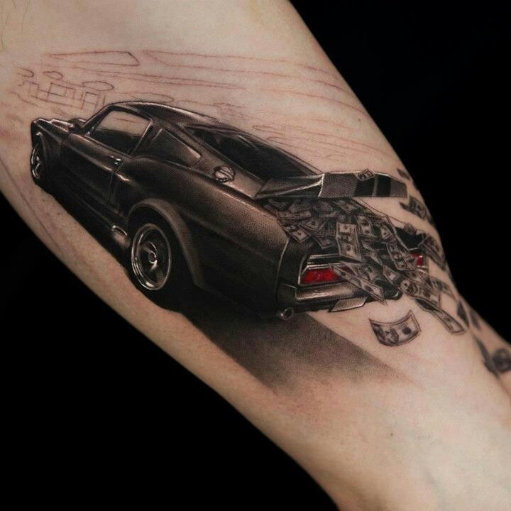 Money And Lovely Car Tattoo Ideas And Designs