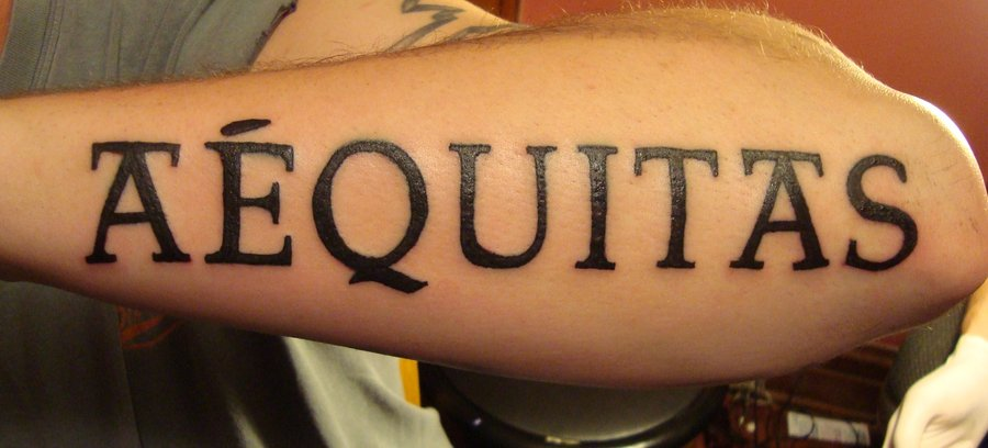 Veritas Aequitas Tattoo For Arm By N3M3Th Ideas And Designs