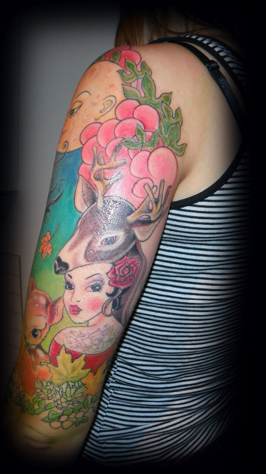 Ink Tattoo Candy Coloured Pink Cloudy Sleeve Ideas And Designs