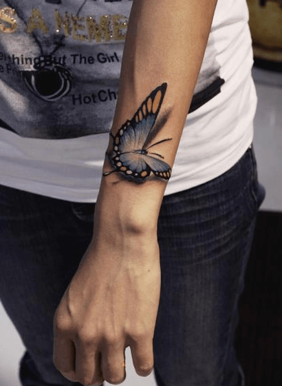 3D Realistic Butterfly Tattoo On Wrist World Amazing Tattoos Ideas And Designs
