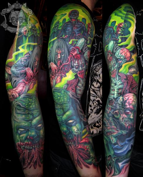 Fantasy Monster Sleeve Tattoo By Tim Kerr Ideas And Designs