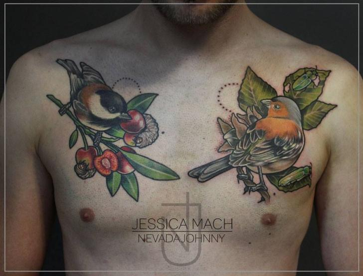 Realistic Chest Bird Tattoo By Jessica Mach Ideas And Designs