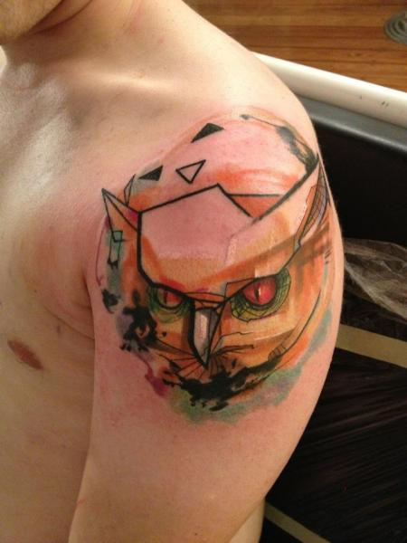 Shoulder Owl Abstract Tattoo By Voller Konstrat Ideas And Designs