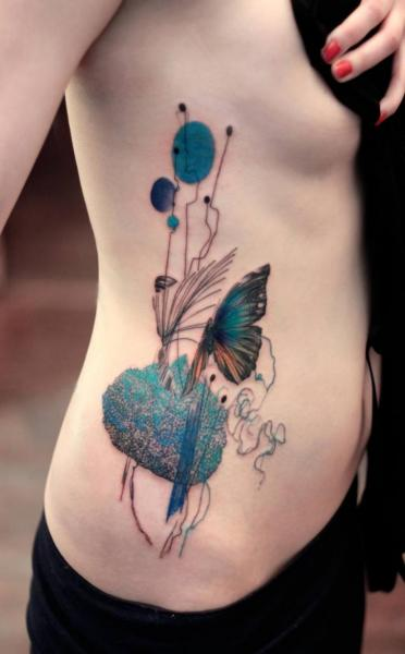 Side Butterfly Abstract Water Color Tattoo By Dead Ideas And Designs