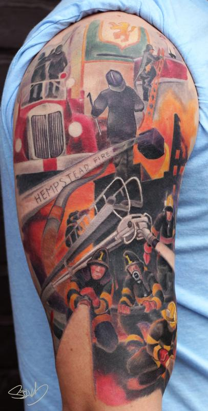Fire Department Painting Tattoo By Marvin Silva Tattoos Ideas And Designs