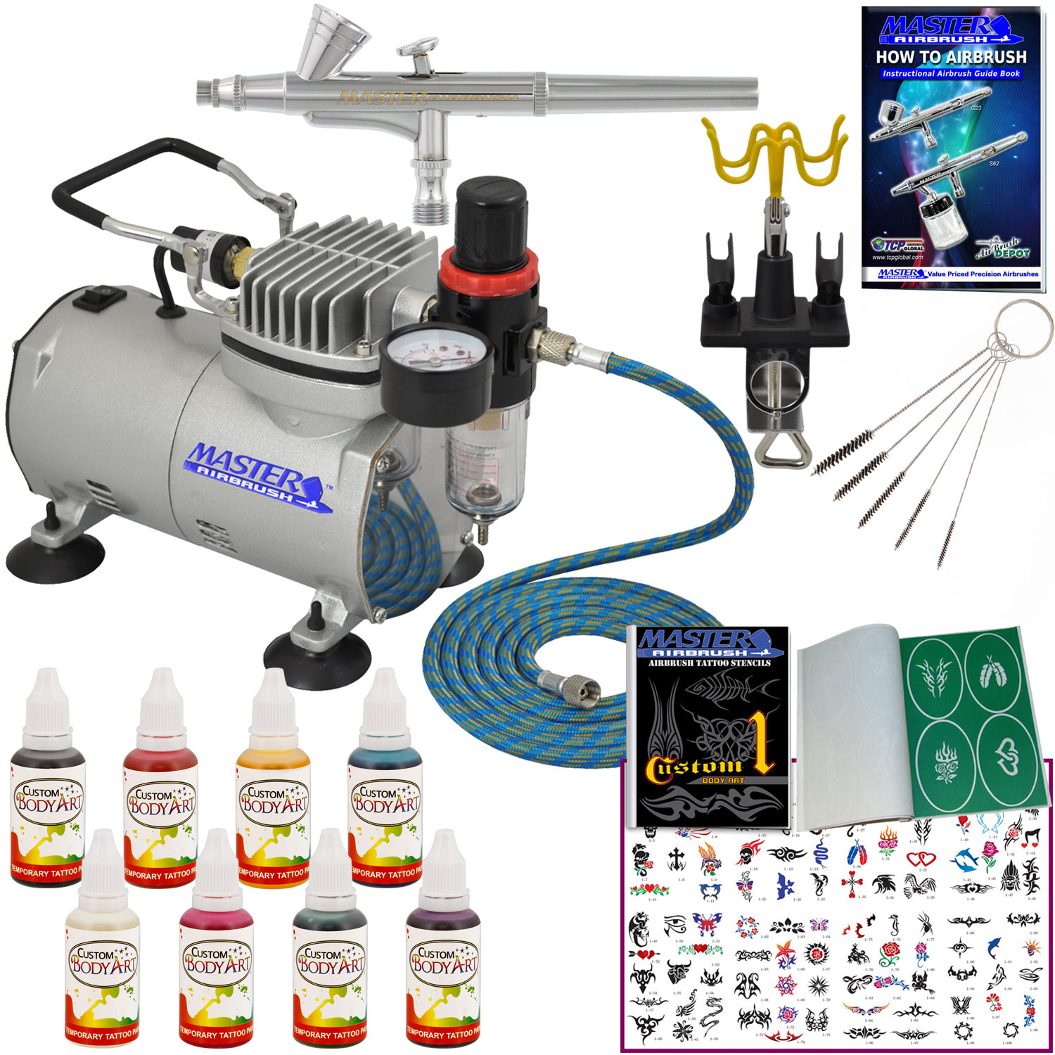 Master Pro Complete Temporary Tattoo Airbrush Kit 8 Color Ideas And Designs