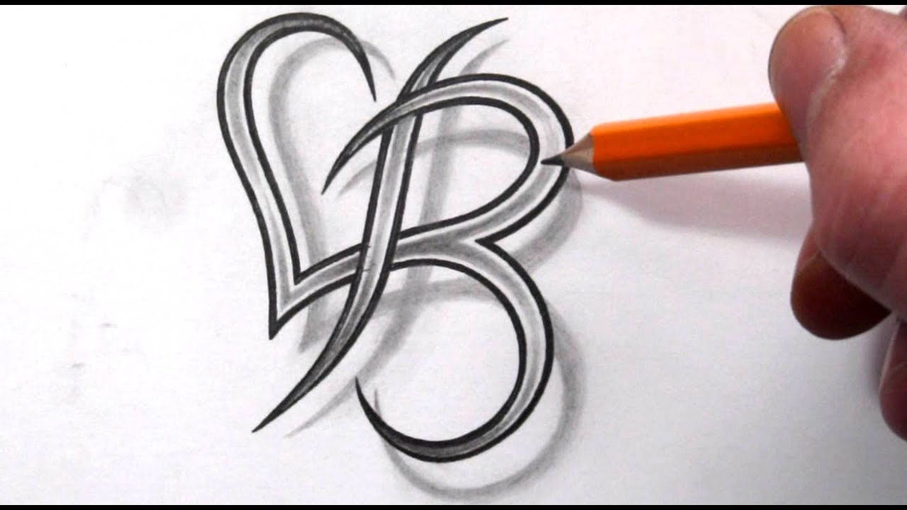 Initial B And Heart Combined Together Celtic Weave Style Ideas And Designs