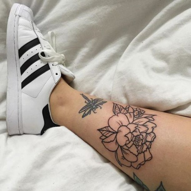 Shoes Tattoo Flowers Adidas Superstar White Black Ideas And Designs