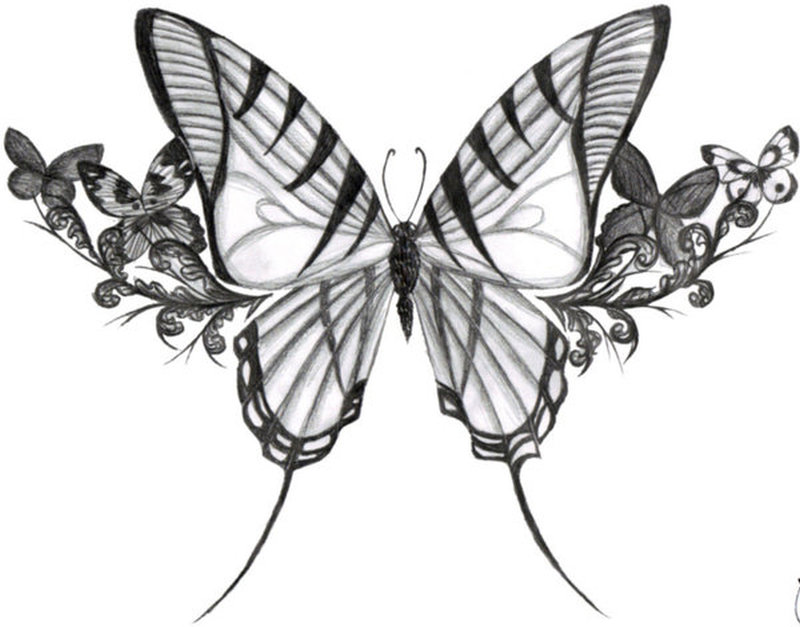 Big Butterfly With Flowers Tattoo Design Tattoos Book Ideas And Designs