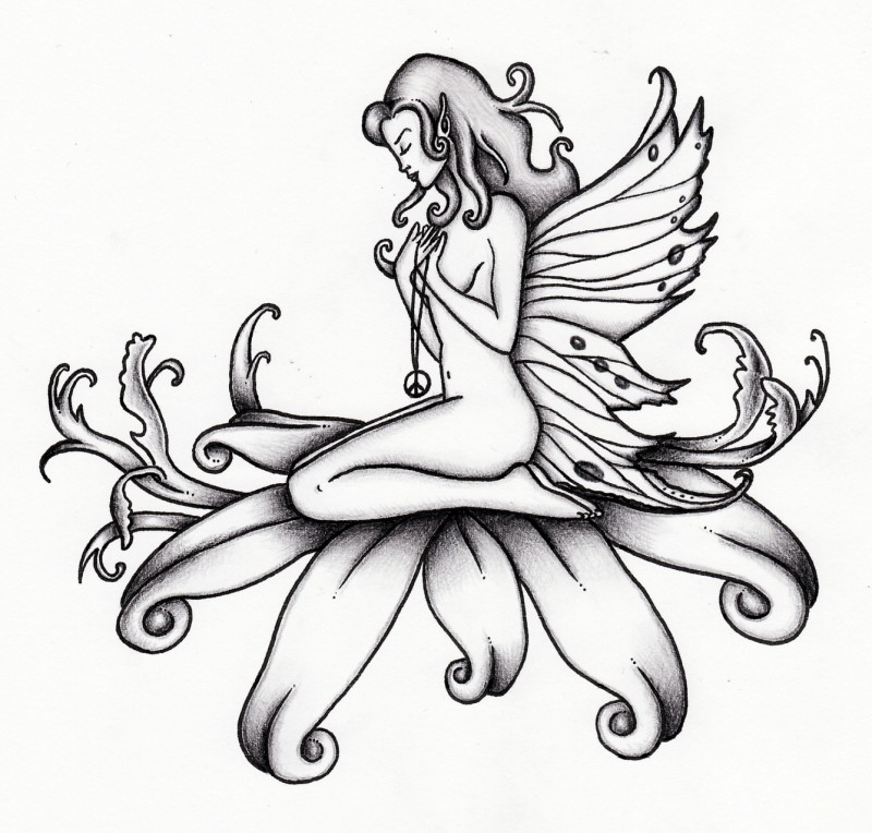 Praying Fairy With A Peace Medallion Sitting On Floral Ideas And Designs