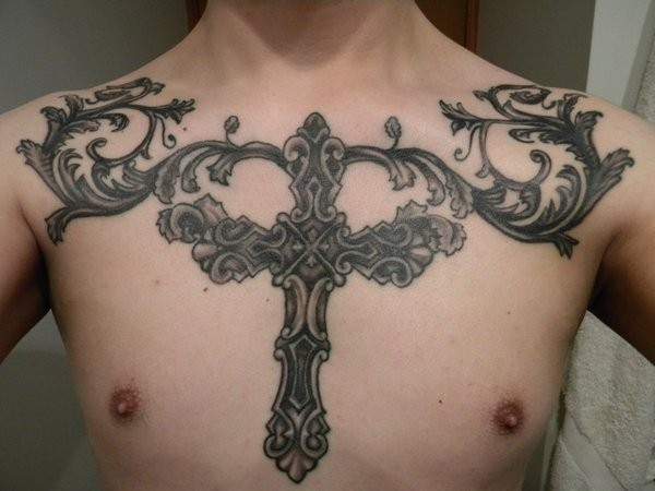 Big Iron Cross With Patterns Tattoo On Chest Ideas And Designs