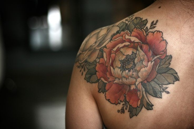 Coloured Flowers Tattoo On Shoulder By Alice Kendall Ideas And Designs
