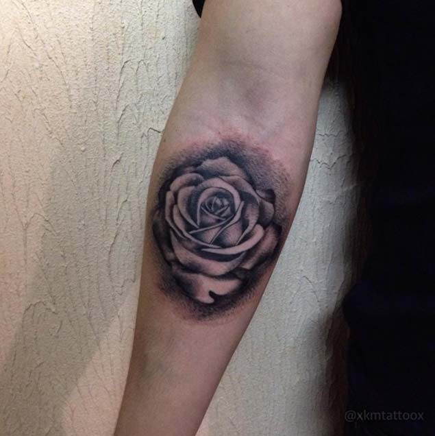 Little 3D Style Black Ink Rose Flower Tattoo On Forearm Ideas And Designs
