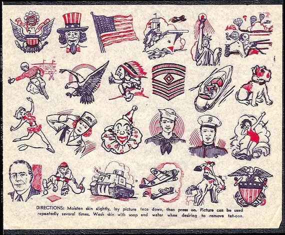 1940S Tattoos Sheet Wwii Era Uncle Sam Flag Eagle By Paperink Ideas And Designs