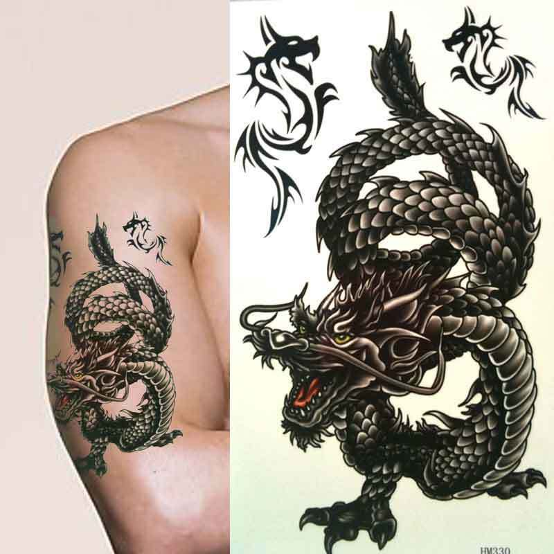 Large Mens Boys Angry Black Chinese Dragon Temporary Ideas And Designs