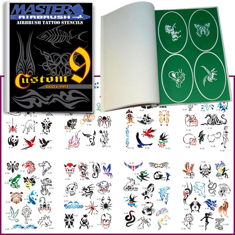 Set 9 Book 100 Reusable Airbrush Temporary Tattoo Stencil Ideas And Designs