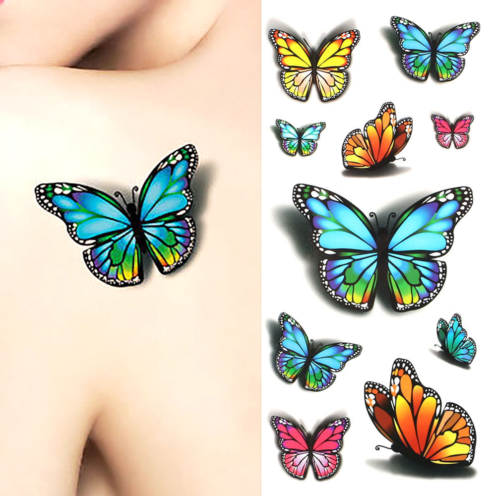 3D Flower Flying Butterfly Tattoo Sticker Temporary Decal Ideas And Designs