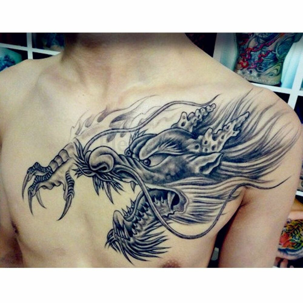 Temporary Tattoo Large 3D Dragon Head Waterproof Removable Ideas And Designs