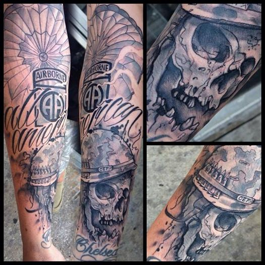 Airborne Parachute Skull Bobby Black Ink Tattoos Ideas And Designs