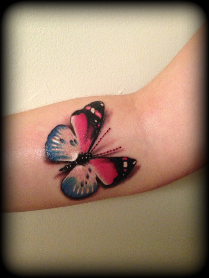 Realistic Pink And Blue Butterfly Tattoo 3D By Ideas And Designs