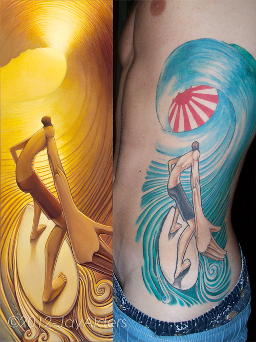 Tattooed Fans Jay Alders Surf Art Figurative Yoga And Ideas And Designs