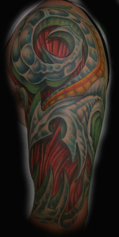 Bio Mech 1 4 Sleeve Tattoo By Stevie Monie Tattoos Ideas And Designs