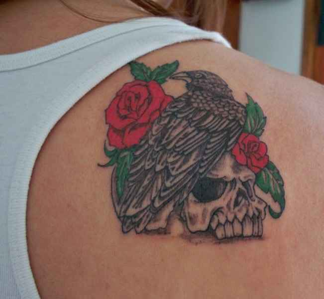 Bird And Rose Tattoo On Back Shoulder Ideas And Designs